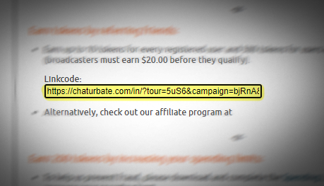 Location of Chaturbate Referral link